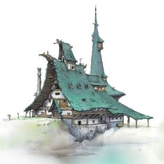 Let's Take A Break, MooHyun Park - Meridith Semiraz Fantasy City, Fantasy House, Fantasy Places, Fantasy World, Illustration Noel, Medieval Houses, Building Concept, Environmental Design, Concept Architecture
