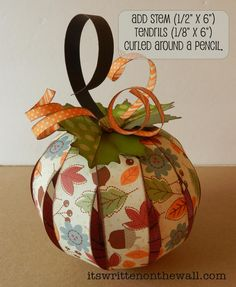 It's Written on the Wall: (Tutorial) Thanksgiving Paper Pumpkin and 12 Tags.So Many Possibilities! It's Written on the Wall: (Tutorial) Thanksgiving Paper Pumpkin and 12 Tags.So Many Possibilities! Fall Paper Crafts, Autumn Crafts, Holiday Crafts, Diy Paper, Paper Gifts, Free Paper, Pumpkin Crafts, Paper Pumpkin, Halloween Cards