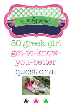 """A new semester means sweet new members, class retreats, sisterhood socials, parties, big/little matchmaking and other events where """"getting to know your sisters better"""" is the #1 goal. Enjoy these conversation questions aimed at breaking the ice, getting the conversation going and becoming closer to your sorority sisters. Of course these questions are also terrific for recruitment! <3 BLOG LINK…"""
