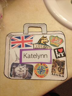 One of the ideas for my RA door tags this year. A travel theme and everyone decorates their suitcase according to who they are! RA decorations, RA life