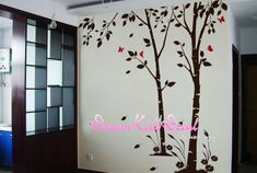 Birch trees decals, wall decals, nature wall decals, vinyl wall decal, nature wall decal stickers, birch tree, nursery wall stickers-DK156 Description: This Beautiful floral tree wall decals will let you feel in the nature! Our wall decals are ideal for offices, living rooms,