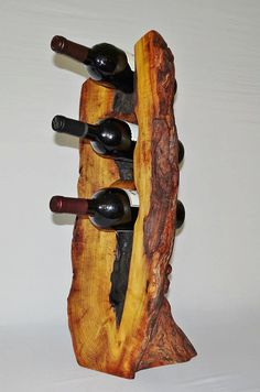 Handcrafted 3 bottle Bois d& Arc Wine Rack Wine Decor, Rustic Decor, Diy Furniture Accessories, Hedge Apples, Orange Wine, Wooden Furniture, Hobbies And Crafts, Absolutely Stunning