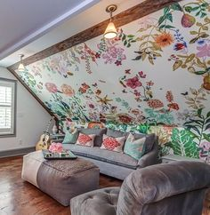 Bright and colorful wallpaper in this Tennessee cottage making for the perfect girl's trip! Cardboard Painting, The Perfect Girl, Girls Getaway, Attic Rooms, Hanging Pictures, Mural Painting, Colorful Wallpaper, French Artists, Modern