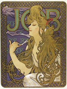 Alphonse Mucha (1860-1939) 'Job' 1898 Colour lithograph Metropolitan Museum of Art, New York.  Mucha's posters are probably the best-known works of Art Nouveau. This poster advertises a brand of cigarette papers called Job.