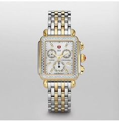 59c8143dadf MICHELE® Watches - Signature Deco Two-Tone Diamond Dial Watch - stainless  steel and yellow gold with diamond bezel
