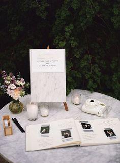 Top 20 Polaroid Wedding Guest Books Polaroid guest book for elegant weddings Wedding Book, Wedding Signs, Wedding Table, Wedding Reception, Dream Wedding, Wedding Day, Polaroid Wedding Guest Book, Wedding Photo Guest Book, Wedding Guestbook Table