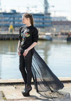 Unique Hand Painted Sweatshirt With Back Skirt via KOLYA KOTOV.