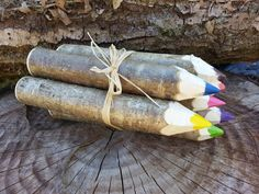Chunky / Giant Hazel Crayon gift pack by CottageCoppicing on Etsy, £9.50