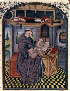 Un copiste dans son atelier  Histoire des nobles princes de Hainaut, Flandre, milieu XVe siècle Paris, BnF, département des Manuscrits, Français 20127, fol. 2v.