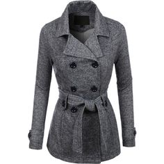 LE3NO Womens Double Breasted Fleece Pea Coat Jacket ($27) ❤ liked on Polyvore featuring outerwear, coats, jackets, grey, grey peacoat, pea coat, gray pea coat, grey pea coat and pea jacket