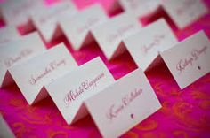 hot pink & white place cards