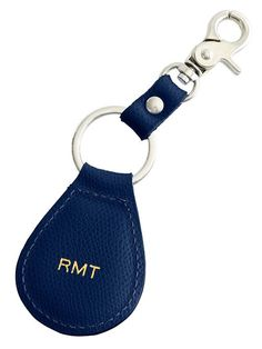 Monogrammed leather key fob.