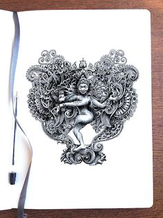 Doodletime - Shiva as Nataraja by Bennett-Klein on DeviantArt Shiva Art, Krishna Art, Ballpoint Pen Art, Spiritual Paintings, Dancing Drawings, Shiva Tattoo, Mandala Art Lesson, Nataraja, Indian Art Paintings