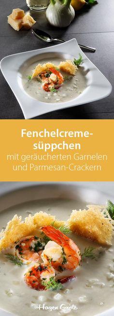 Fenchelcremesüppchen mit geräucherten Garnelen und Parmesan-Crackern