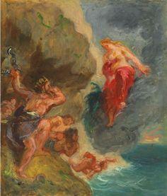 Eugène Delacroix, Winter- Juno and Aeolus, oil sketch, 1856. Oil on canvas, Private Collection. - Eugène Delacroix