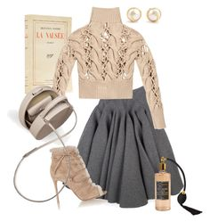 """""""Beige&Grey"""" by annavedeneeva ❤ liked on Polyvore featuring Rochas, MM6 Maison Margiela, Gianvito Rossi, BUwood and Chanel"""
