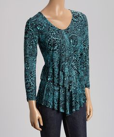 Look what I found on #zulily! Black & Teal Floral Tiered Scoop Neck Top #zulilyfinds