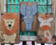 León y jirafa vivero Decor cadena arte animales por NailedItDesign