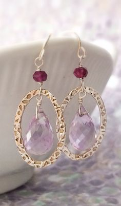 Faceted Pink Amethyst Hammered Oval