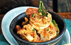 Prawns with garlic and chillies is easily one of my favourite first courses for dinner parties, one that I have served repeatedly over the years, says Madhur Jaffrey. Prawn Recipes, Chef Recipes, Fish Recipes, Seafood Recipes, Indian Food Recipes, Asian Recipes, Curry Recipes, Dinner Party Recipes, Instant Pot Dinner Recipes