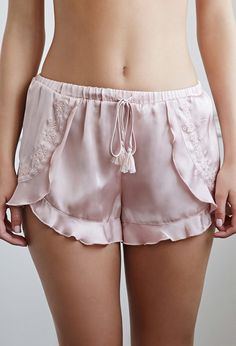 Product Name:Embroidered Satin Tulip PJ Shorts, Category:CLEARANCE_ZERO, Price:15.9