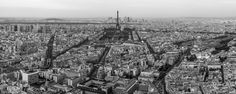 View from Tour Montparnasse, Paris. - Beautiful views of Paris, take in the very best view of the Eiffel Tower and everything else Paris has to offer on the amazing 56th floor of the Montparnasse Tower.  Panorama. 2.5x1