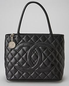Chanel Black Quilted Caviar Leather Medallion Tote