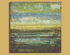 Abstract Painting in Brown, Lavender and Gold - Mud Flats (8x8) Original Acrylic…