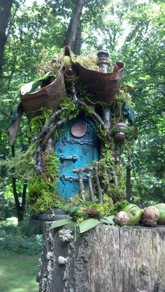 Curled Mossy Awning Fairy Door  by CindiBee on Etsy