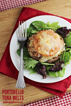 Portobello Tuna Melts - healthy tuna recipe with no mayo and no bread  #OceanNaturals #shop #cbias