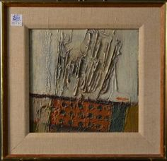 """ADICKES - Abstract Painting on Board. Size : 14.5"""" x 14"""""""