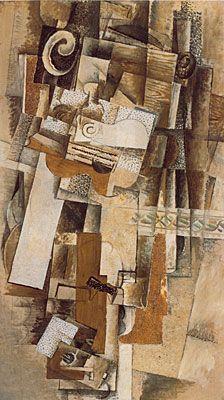 """""""L'Homme à la guitare"""" de George Braque.  Fiche technique: .L'Homme à la guitare .George Braque .1911-1912 .Huile sur toile .H:116 x L:81 cm .Museum of Art Modern, New York. Biographie: Biographie: Artiste français (1882-1963) fondateur du cubisme avec Picasso. C'est le premier a utiliser des lettres dans ses peintures et varie ses matériaux pour le collage. Ils réussit avec Picasso a accomplir ce que l'on a toujours rêver de faire: briser les bases que l'on trouve dans l'histoire."""