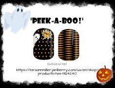 'Peek-A-Boo!' My newest Halloween design! Link in bio to order. NAS product 1364240  #jamberry #nailart #halloween #costume #style #designer #customnails #jamberryaddict #ghosts #pumpkins #black #love #lovemyjob❤️ #nailspiration #notd #ootd #color #fun #boo #polkadots #family #girls #treatyourself #nailart #fall #autumn #spooky #nailsofinstagram #jamberrynas