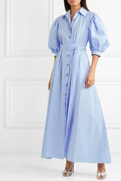 Find and compare Valerie belted striped cotton-poplin maxi dress across the world's largest fashion stores! Hijab Fashion, Boho Fashion, Womens Fashion, Fashion Hats, Fashion Black, Fashion Spring, Fashion Details, Older Women Fashion, Fashion Tips For Women
