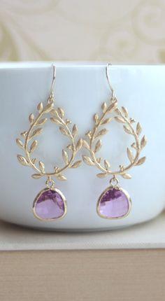 Lavender Lovelies. Laurel Wreath Earrings. Purple Wedding Gift Ideas | Marolsha #dreamweddingbox @Matty Chuah Wedding Notebook