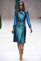 *BURBERRY PRORSUM* Runway Metallic Blue Leather Trench Coat-So Wanted! NWT IT 36