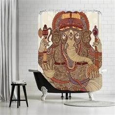 Valentina Ramos - Ganesha, Shower Curtain, 180x180