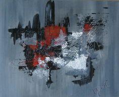 Coup de foudre. 16*20. Abstrait avec texture. Rouge, noir, gris et blanc. Disponible. 272$.