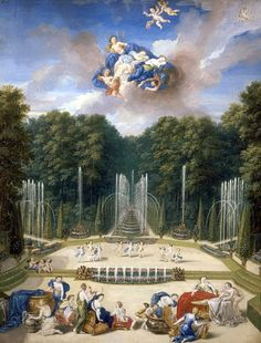 13 Vue de la partie supérieure du bosquet du théâtre d'eau dans les jardins de Versailles de Cotelle Jean, le Jeune.jpg