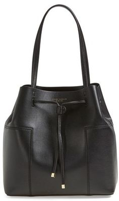 Tory Burch 'Block-T' Leather Drawstring Tote on ShopStyle
