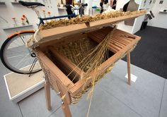 Tom Back (Thumb Designs)'s Thrive Hive, a modern bee hive that combines the traditional techniques of a Kenyan top bar with a traditional skep bee hive for added insulation. It reminds me of a traditional basket/cradle for the bees! The hive is also adjustable in height, allowing access to beekeepers of all ages.