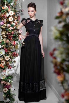 """Simple long black dress, made of 100% silk and Chantilly lace, from Papilio """"Flower Cocktail"""" Fashion Collection."""