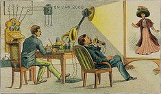 A Parisian artist's depiction of life at the turn of the 21st century, created between 1899 and 1910. Video chat!
