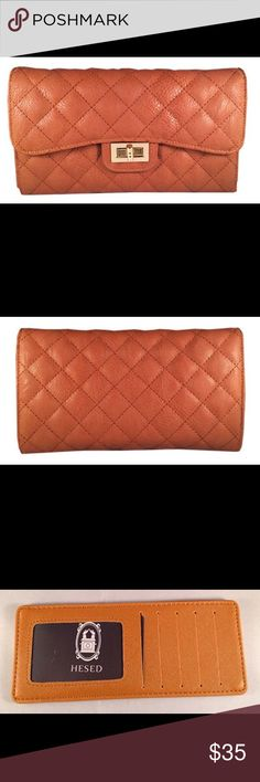 """Camel Brown Quilted with Gold Clutch COLOR: Camel Brown with Gold Clasp SIZE: 10"""" x 6"""" x 2""""  DESCRIPTION: This beautiful quilted classic design clutch is perfect for a night on the town. Comes with a removable long and wrist strap that can be used a shoulder bag or clutch. Spacious for all your goodies, and has wallet features inside to stay organized. MADE of Quilted Faux leather Bags Clutches & Wristlets"""