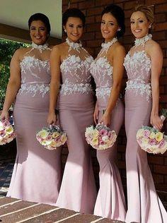 long mermaid bridesmaid dress, 2016 bridesmaid dress, wedding party dress, blush pink bridesmaid dress
