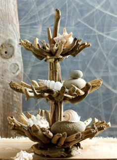 Driftwood 3 Tier Stand and seashells - this is so cool!