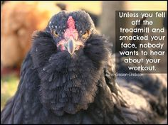 Unless you fell off the treadmill and smacked your face, nobody wants to hear about your workout. #funny #chickens