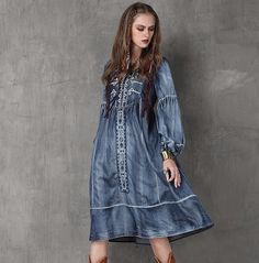 Women Dress 2016 Runwa New Arrived Vintage Denim Dresses O-Neck Long Lantern Sleeve Embroidery Dames Kleding Vestidos Femininos