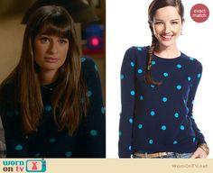 Rachel's blue polka dot sweater on Glee. Outfit Details: http://wornontv.net/22126 #Glee