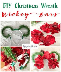 DIY Christmas Wreath Mickey Ears - This Fairy Tale Life - Christmastime Disney Diy, Diy Disney Ears, Disney Mickey Ears, Minnie Mouse Bow, Disney Crafts, Disneyland Christmas, Mickey Christmas, Felt Christmas, Christmas Crafts